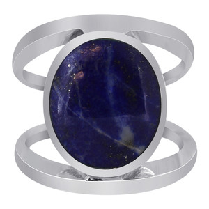 925 Sterling Silver Oval Blue Lapis Lazuli Gemstone 5mm Solitaire Ring