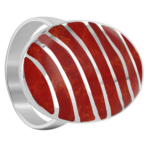 Mens 925 Sterling Silver Coral 25 x 16mm Oval with Stripes Design Ring