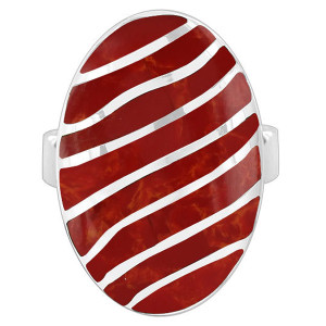 925 Silver Coral Oval with Stripes Design Ring