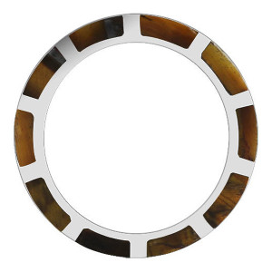 925 Silver Tiger eye Gemstone with Strips Design 9mm Band