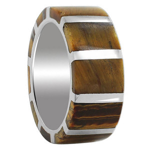 925 Sterling Silver Tiger eye Gemstone with Strips Design 9mm Band