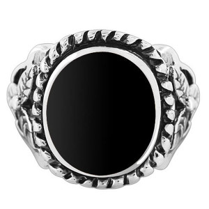 925 Silver Black Onyx Oval with 16mm Rope Design Ring