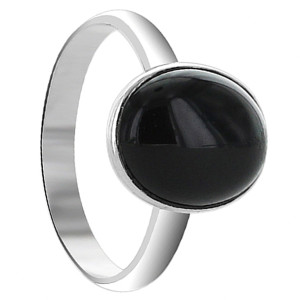 925 Sterling Silver Black Onyx 10 x 12mm Oval Ring