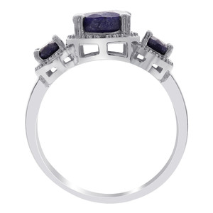 925 Silver Sapphire September Birthstone and Stones Ring
