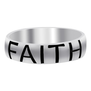 Sterling Silver Faith Engraved Band