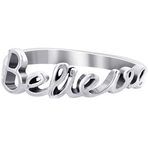 Sterling Silver Believe Ring