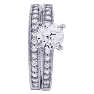 925 Sterling Silver 6mm Round Cubic Zirconia with accents Wedding Band Engagement Ring Set