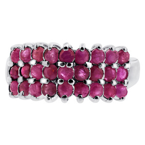 925 Silver Pretty Ruby July Birthstone Round Ring