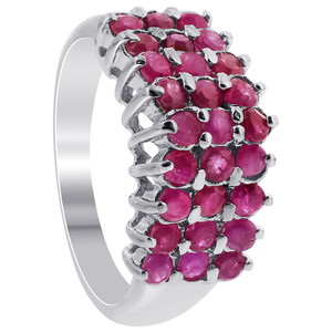 925 Sterling Silver Pretty Ruby Gemstone Round Ring