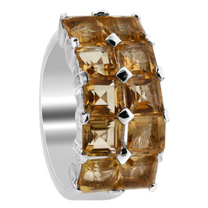 925 Sterling Silver Citrine Gemstone Square Ring