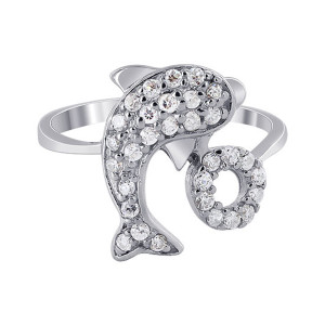 925 Silver CZ Pave Set Dolphin with Hoop Ring
