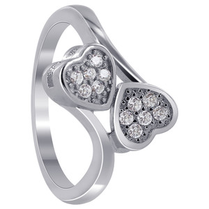 925 Sterling Silver Cubic Zirconia Round Double Studded Hearts Ring