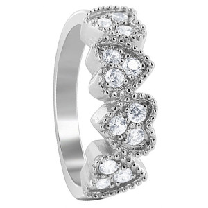 925 Sterling Silver Cubic Zirconia Four Studded Hearts Design Pave Set Ring