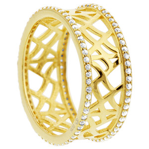 Gold Over 925 Sterling Silver CZ Design 8mm Band