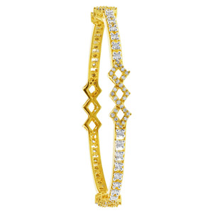 Gold Plated Cubic Zirconia Bangle Bracelets