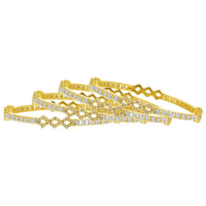 Gold Plated Cubic Zirconia Bollywood Indian Bangle Bracelets Set of 4