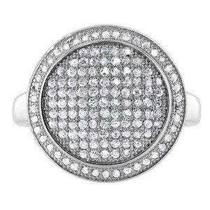 925 Silver CZ 1mm Round Pave Set Studded Ring