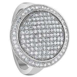 925 Sterling Silver Cubic Zirconia 1mm Round Pave Set Studded Ring