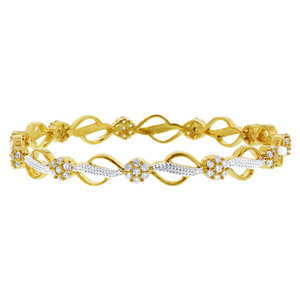 Gold Plated Round CZ Bollywood Indian Bangle Bracelets Set of 2