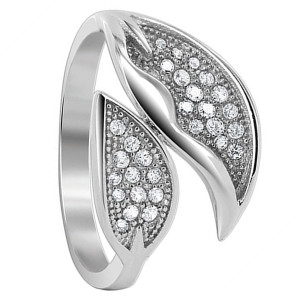 925 Sterling Silver 1mm Round Cubic Zirconia Two Studded Leaves Ring