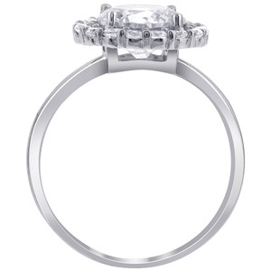 Silver Plated Solitaire with Accents CZ Ring #GR206