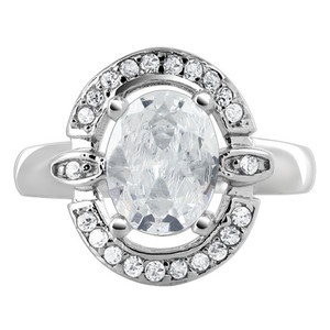 925 Sterling Silver Cubic Zirconia Oval Ring