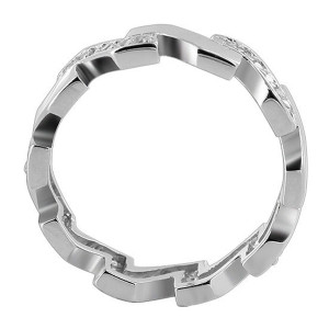 925 Sterling Silver Cubic Zirconia Round Studded and Zigzag 5mm Band