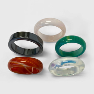 Agate Onyx Carnalian Opalite Unisex Band Set Assorted Ring Sizes