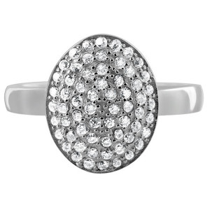 925 Silver Clear CZ 10 x 13mm Oval Pave Setting Ring