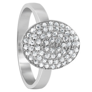 925 Sterling Silver Cubic Zirconia 10mm x 13mm Pave Set Oval Ring