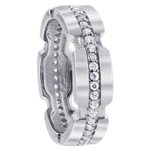 925 Sterling Silver Cubic Zirconia Round 4mm to 6mm wide Eternity Band