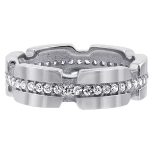 925 Silver CZ Round 4mm to 6mm wide Eternity Band