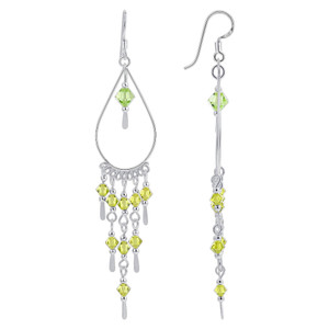 Green Crystal 925 Sterling Silver Swarovski Elements Chandelier Earrings