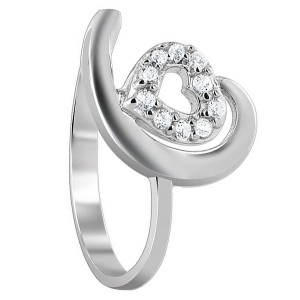 925 Sterling Silver Cubic Zirconia Studded Open Heart Design Ring