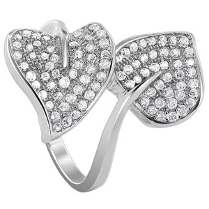 925 Sterling Silver Cubic Zirconia 23mm wide Double Pave Set Studded Leaves Ring