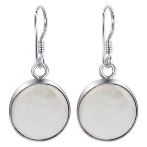 Freshwater Pearl Coin Style 925 Sterling Silver Drop Earrings
