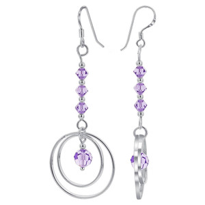 Purple Crystal Bicones Dangle Earrings