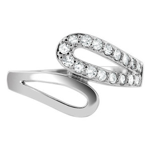 925 Silver CZ Round Double Elongated Pear Shape Ring