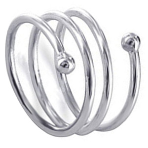 925 Sterling Silver Polished Finish Spiral Band