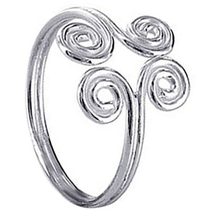 925 Sterling Silver Polished Finish Swirl Design Ring