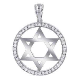 Cubic Zirconia Studded 30mm Circle 925 Sterling Silver Star Pendant