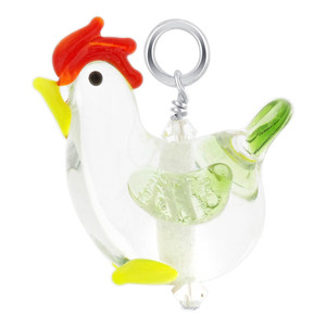 Lampwork Glass Rooster 925 Sterling Silver Charm Pendant