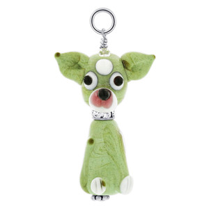 Lampwork Glass Chihuahua Puppy 925 Sterling Silver Charm Pendant