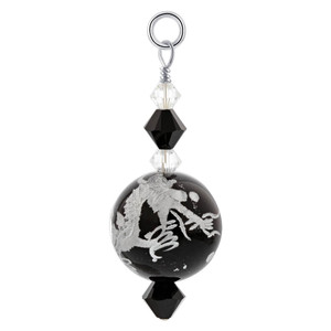 Black Lampwork Glass Dragon Painting with Swarovski Elements Crystal 925 Sterling Silver Charm Pendant