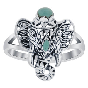 18mm x 15mm Simulated Turquoise 925 Sterling Silver Tusker Elephant Ring