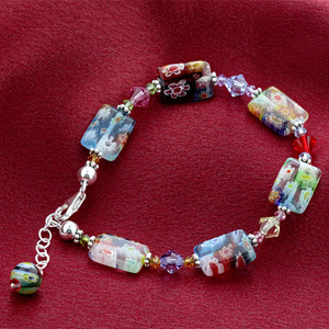 Blown Glass & Swarovski Elements Crystal 925 Sterling Silver Handmade Bracelet 7 To 8 inch Adjustable