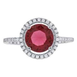 1 CTW Garnet Color CZ 925 Sterling Silver Solitaire with Accents Ring Size 7 – Bestseller