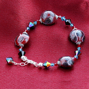 Blown Glass & Swarovski Elements Crystal 925 Sterling Silver Handmade Bracelet 8 to 9 inch Adjustable