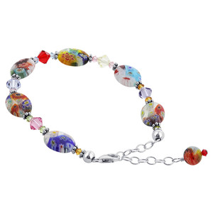 Oval Blown Glass & Swarovski Elements Crystal 925 Sterling Silver Handmade Bracelet 7 to 8.5 inch Adjustable