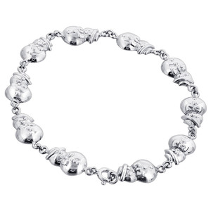 925 Sterling Silver 10mm Snowman Bracelet with Spring Ring Clasp